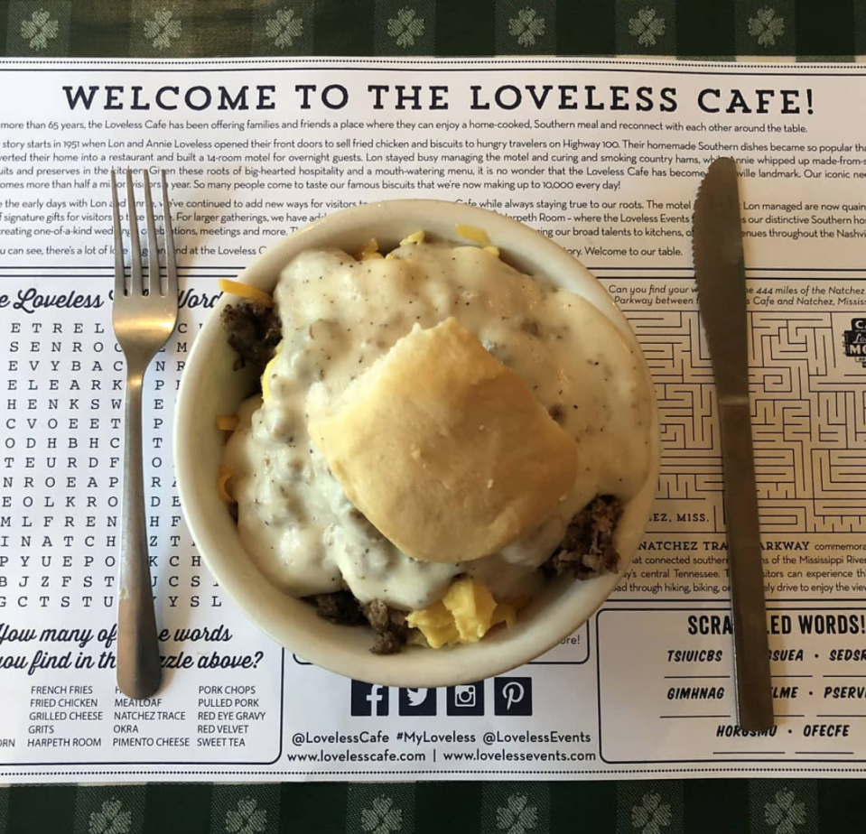 "<p><a href=""https://www.instagram.com/lovelesscafe/"" rel=""nofollow noopener"" target=""_blank"" data-ylk=""slk:Loveless Cafe"" class=""link rapid-noclick-resp"">Loveless Cafe</a> serves up the best of the best of southern comfort food. Diners rave about the homemade biscuits served warm with butter and fresh fruit preserves. And the daily specials, including a smoked beef brisket on Sundays, are not to be missed. </p><p><em><a href=""https://www.instagram.com/lovelesscafe/"" rel=""nofollow noopener"" target=""_blank"" data-ylk=""slk:Check out Loveless Cafe on Instagram."" class=""link rapid-noclick-resp"">Check out Loveless Cafe on Instagram.</a></em></p>"