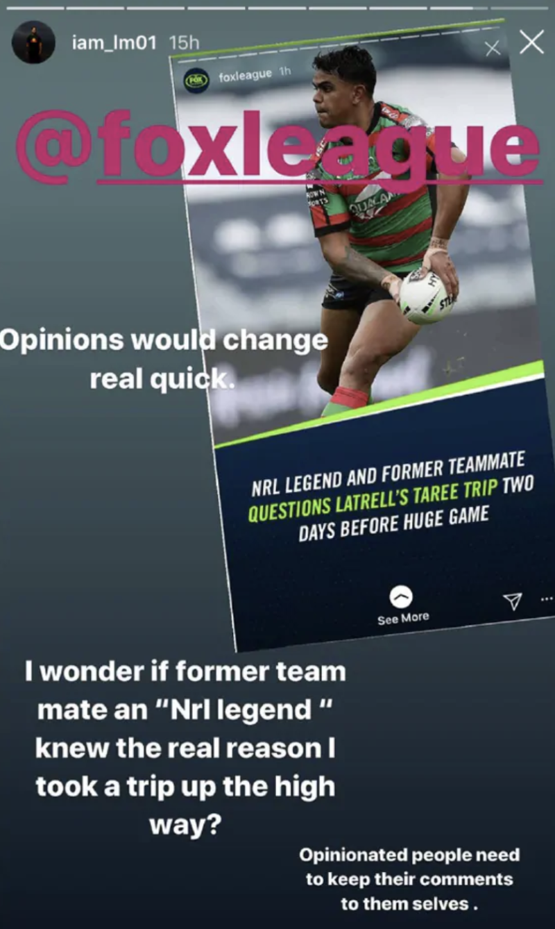 A screenshot of Latrell Mitchell's Instagram story, which shows the Rabbitohs fullback taking aim at former teammate Cooper Cronk. Picture: Instagram/Latrell Mitchell
