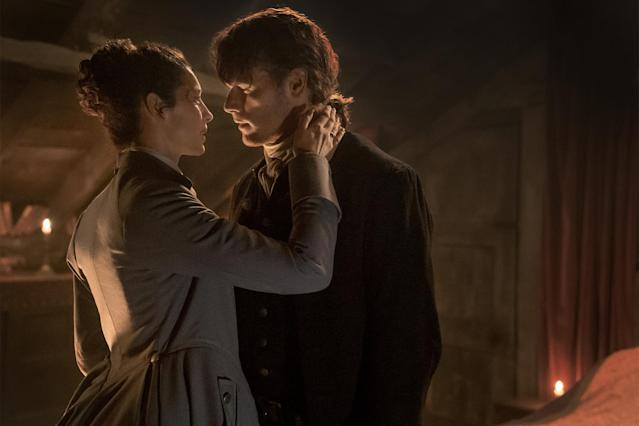 Jamie and Claire continue their reunion at Jamie's apartment above a brothel (Photo: Starz)