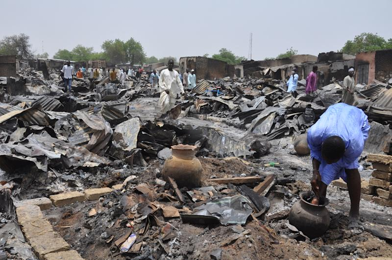 Gamboru market in northeastern Nigeria pictured in May 2014 after an attack by suspected Boko Haram insurgents (AFP Photo/)