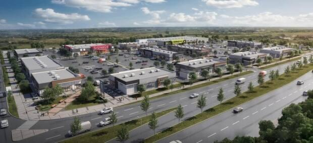 This rendering shows what a new, outdoor shopping area planned for the northeast community of Cornerstone will look like. (Anthem United - image credit)