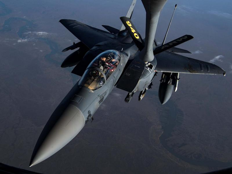 A US F-15E Strike Eagle, of the kind used to destroy the Lafarge Concrete Factory military base: REUTERS