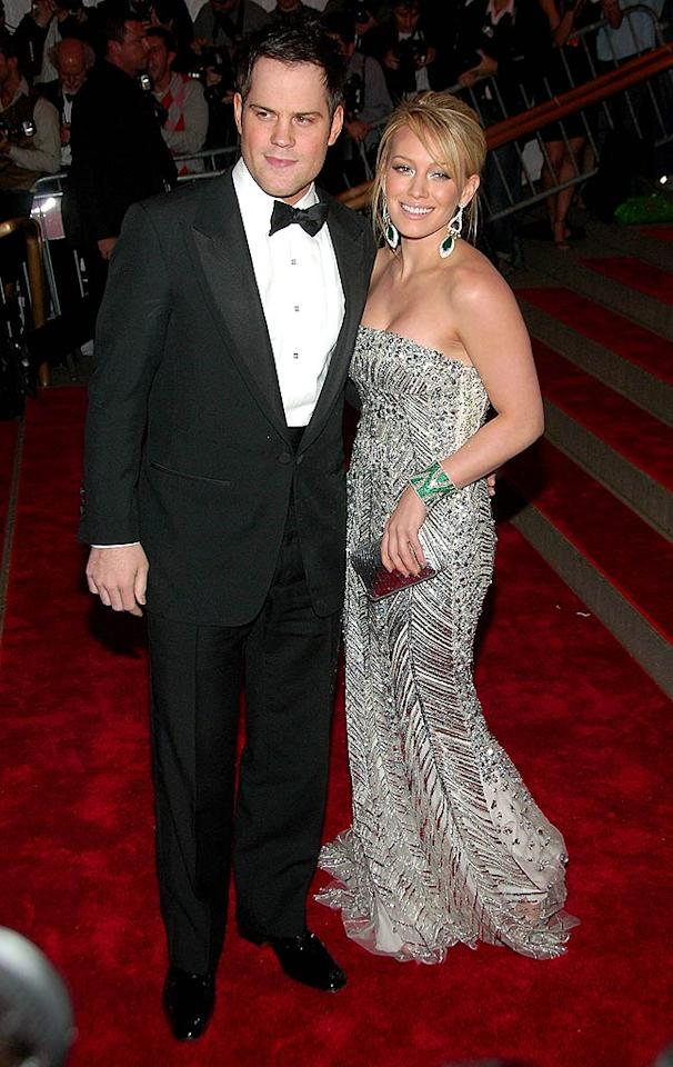 "Mike Comrie traded in his NHL uniform for a tux, while girlfriend Hilary Duff sparked in Elie Saab and emerald jewels. Michael Loccisano/<a href=""http://www.filmmagic.com/"" target=""new"">FilmMagic.com</a> - May 5, 2008"