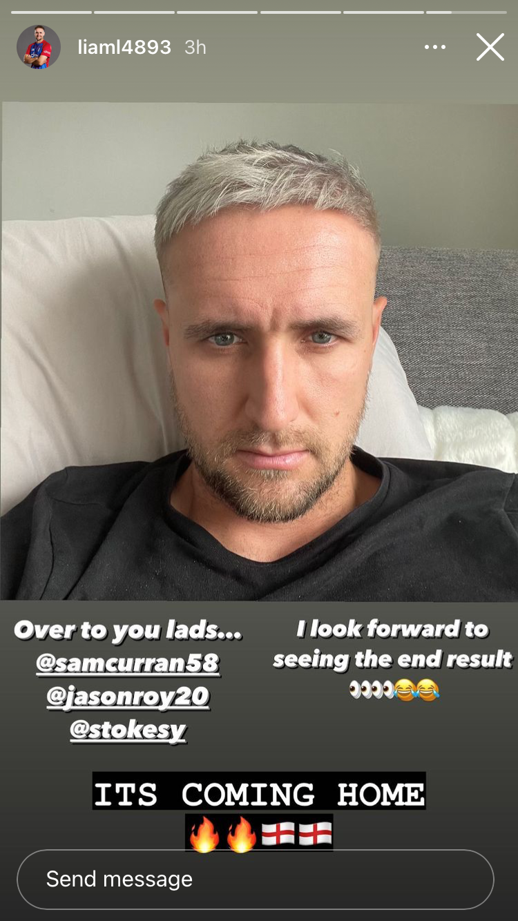 Screenshot of Liam Livingstone's new hairstyle from his Instagram story