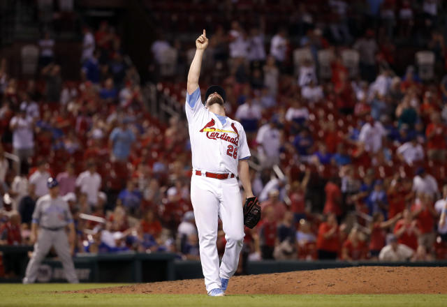 St. Louis Cardinals relief pitcher Bud Norris celebrates after getting Chicago Cubs' Addison Russell to ground out ending a baseball game, Sunday, June 17, 2018, in St. Louis. The Cardinals won 5-0. (AP Photo/Jeff Roberson)