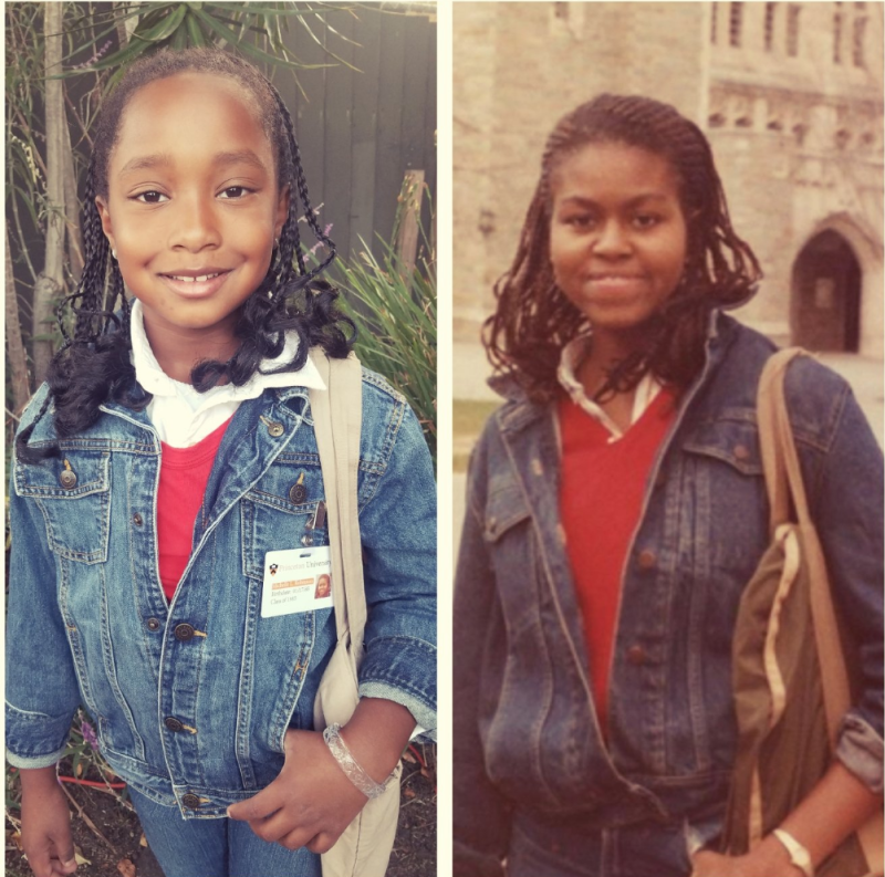 Ella-Lorraine Brown (left) and Michelle Obama in her days at Princeton University. (Photos: The Brown family; Getty Images.)