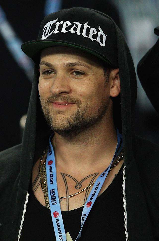 SYDNEY, AUSTRALIA - MAY 11: Joel Madden of Good Charlotte watches the action during the round 12 Super Rugby match between the Waratahs and the Bulls at Allianz Stadium on May 11, 2012 in Sydney, Australia. (Photo by Cameron Spencer/Getty Images)
