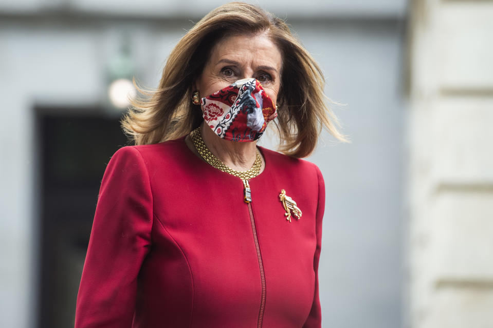 UNITED STATES - SEPTEMBER 28: Speaker of the House Nancy Pelosi, D-Calif., leaves Russell Building after an MSNBC interview on Monday, September 28, 2020. (Photo By Tom Williams/CQ-Roll Call, Inc via Getty Images)