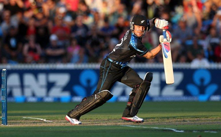 New Zealand's Brendon McCullum hits a shot during their second T20 international against England on February 12, 2013
