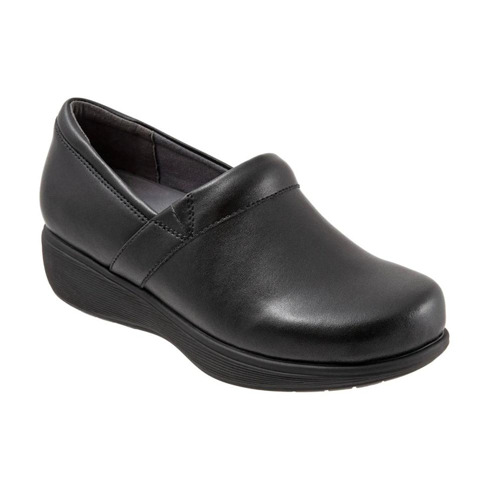 """Another work shoe favorite of mine is Softwalk's Meredith Sport Clogs. They don't slide on as effortlessly as my Danskos, but once I have them on, I feel like I'm walking on clouds since there's so much insole cushioning! The rubber soles are nonslip which is a bonus safety feature when working in any healthcare setting, and the leather clogs are easily cleaned with a bleach wipe when necessary. <em>—C.P.</em> $100, Nordstrom. <a href=""""https://www.nordstrom.com/s/softwalk-meredith-sport-clog-women/5641986"""" rel=""""nofollow noopener"""" target=""""_blank"""" data-ylk=""""slk:Get it now!"""" class=""""link rapid-noclick-resp"""">Get it now!</a>"""