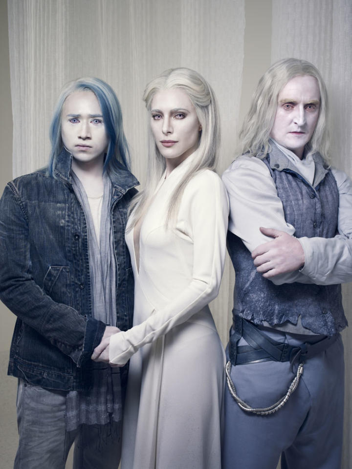"Jesse Rath as Alak Tarr, Jaime Murray as Stahma Tarr and Tony Curran as Datak Tarr on Syfy's ""Defiance."""