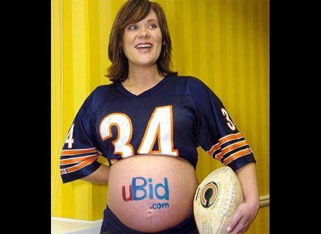 "In 2007, mother-to-be Jennifer Gordon offered to paint a company's logo on her baby bump <a href=""http://www.whotv.com/who-mom-to-bewilltradebellyfo-5982684jan24,0,5091212.story"" target=""_hplink"">for Super Bowl XLVI tickets</a>. The winner? UBid.com."