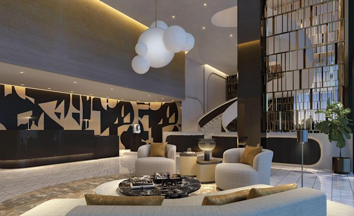 The lobby at the Waldorf Astoria Residences, coming to Miami.