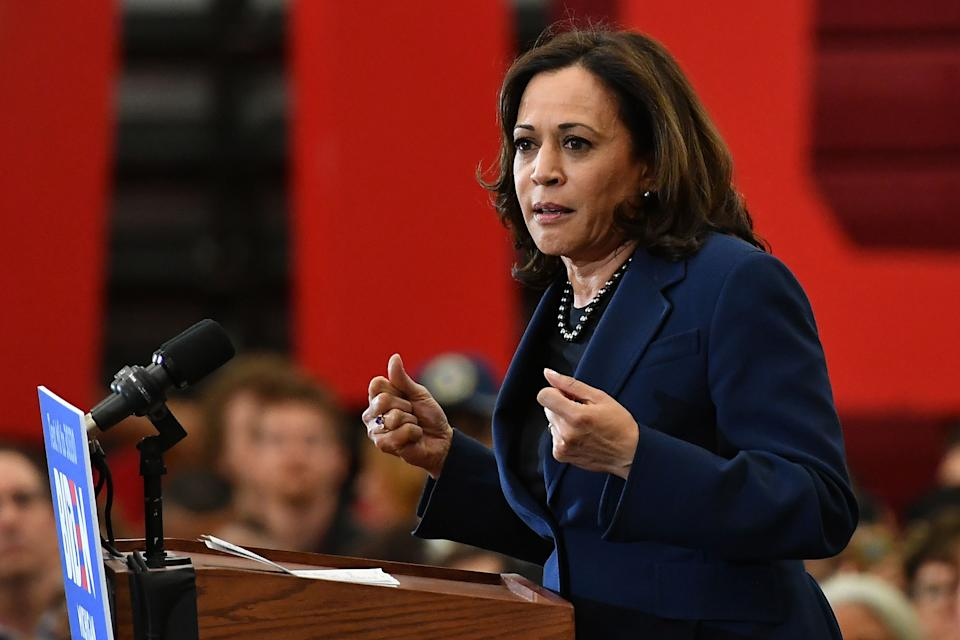California Senator Kamala Harris speaks during a Democratic presidential candidate Joe Biden campaign rally at Renaissance High School in Detroit, Michigan on March 9, 2020. (Photo by MANDEL NGAN / AFP) (Photo by MANDEL NGAN/AFP via Getty Images)