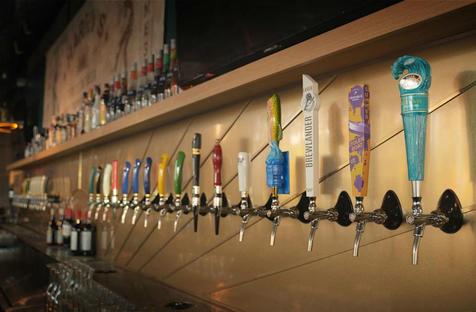 Brews available on tap. Photo: Harry's