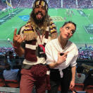 """<p>Who had more fun at the rugby match: Jason Momoa or his <em>Aquaman</em> co-star Amber Heard? The actors, along with his kids, attended the Queensland Maroons versus New South Wales Blues game in Brisbane, Australia. """"I love rugby,"""" he wrote. We can tell. (Photo: <a rel=""""nofollow noopener"""" href=""""https://www.instagram.com/p/BWcpDvNHgkb/?taken-by=prideofgypsies&hl=en"""" target=""""_blank"""" data-ylk=""""slk:Jason Momoa via Instagram"""" class=""""link rapid-noclick-resp"""">Jason Momoa via Instagram</a>)<br><br></p>"""