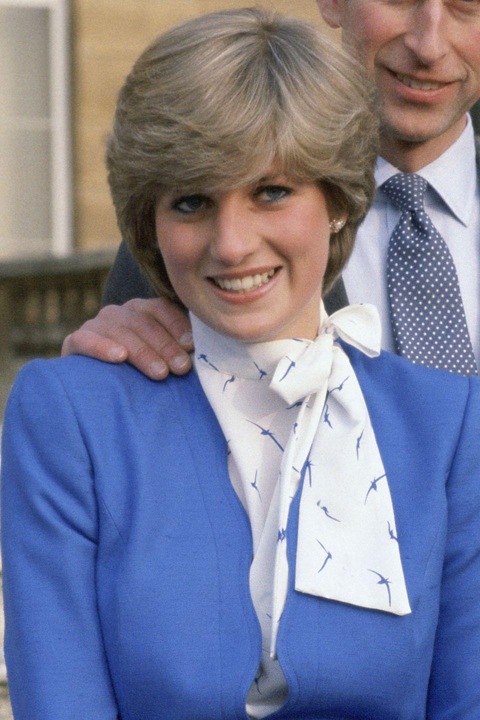 <p>The day she announced her engagement to Prince Charles at Buckingham Palace.</p>