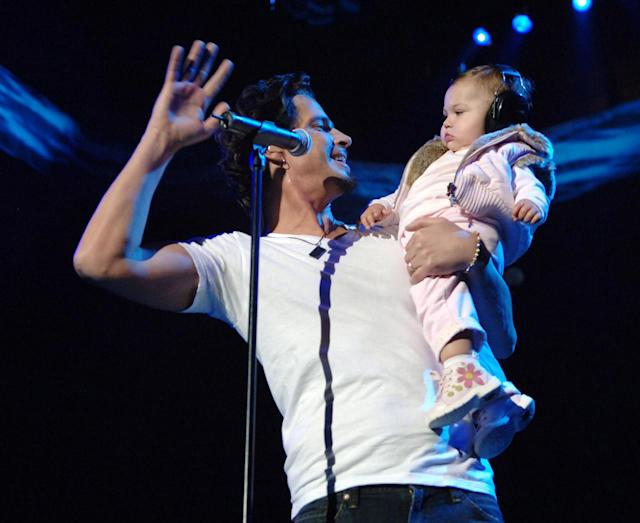 <p>Chris Cornell and his daughter Toni during Audioslave concert at Madison Square Garden in New York City on October 29, 2005.<br>(Photo by KMazur/WireImage) </p>