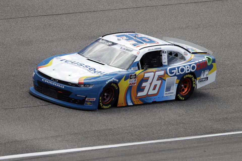 Alex Labbe drives during a NASCAR Xfinity Series auto race Sunday, June 14, 2020, in Homestead, Fla. (AP Photo/Wilfredo Lee)