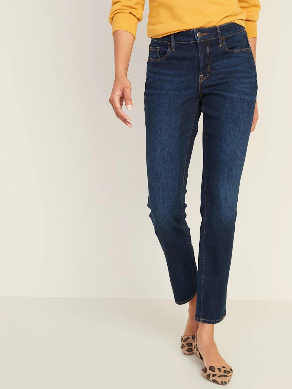 <p>These <span>Old Navy Mid-Rise Dark-Wash Power Slim Straight Jeans</span> ($35) have a thicker texture, so they'll hold their structure extra well, no matter how you move.</p>