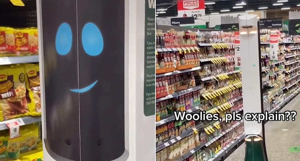 The robot Hawkie in the Melbourne Woolworths store.
