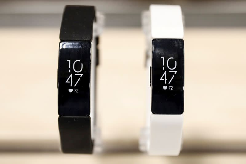 FILE PHOTO: Fitbit devices are displayed in a store in New York
