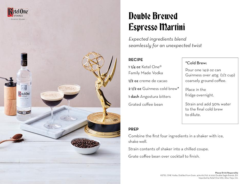 Cold brew, stout and cacao meld seamlessly with Ketel One Vodka for an unexpected take on the espresso martini