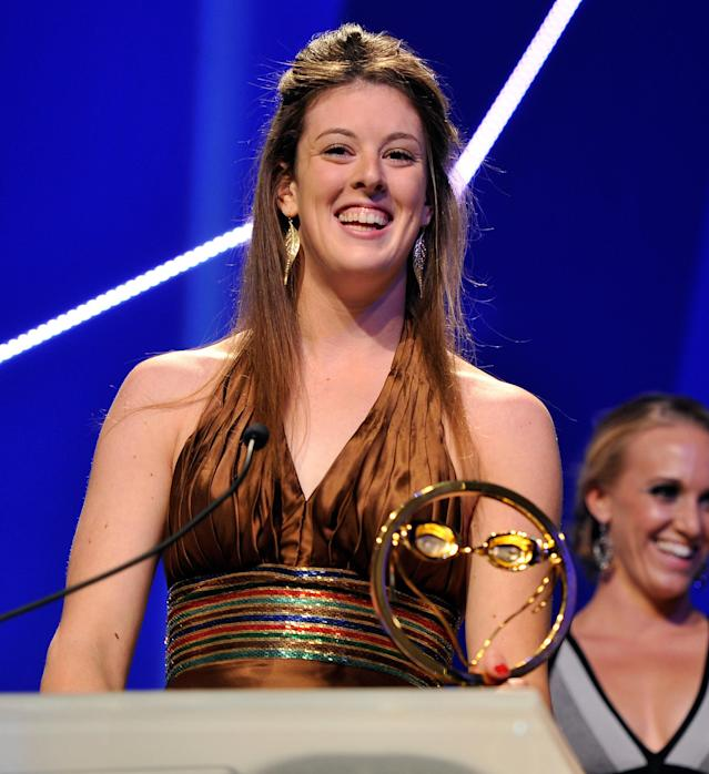 NEW YORK, NY - NOVEMBER 19: Olympic athlete Allison Schmitt attends the 2012 Golden Goggle awards at the Marriott Marquis Times Square on November 19, 2012 in New York City. (Photo by Stephen Lovekin/Getty Images)