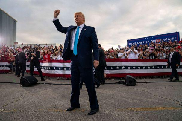 PHOTO: President Donald Trump arrives to speak during a campaign rally at Arnold Palmer Regional Airport, Thursday, Sept. 3, 2020, in Latrobe, Pa. (Evan Vucci/AP)