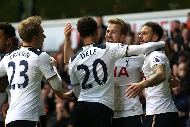 At the double: Kane celebrates his second goal at White Hart Lane: Tottenham Hotspur FC via Getty Images