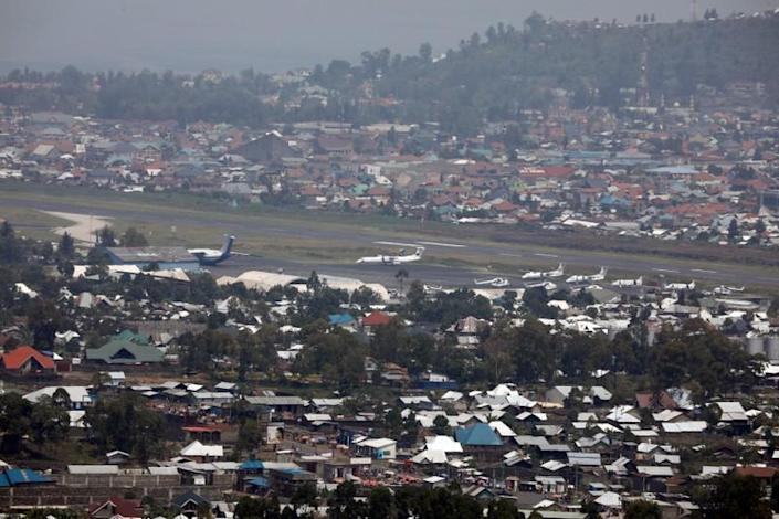 FILE PHOTO: A general view shows planes at the Goma International Airport, in Goma