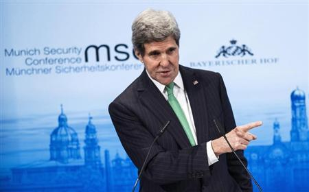 U.S. Secretary of State Kerry speaks during the Munich Security Conference at the Bayerischer Hof Hotel in Munich