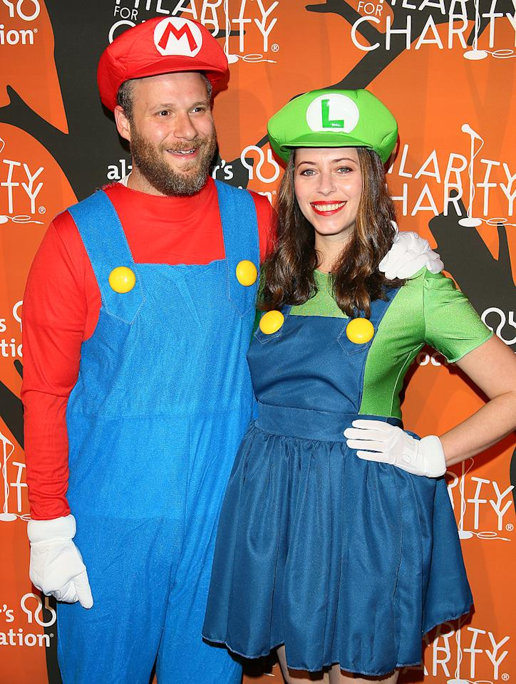 "<p>The actor and his wife, Lauren Miller, made for an adorable Mario and Luigi — better known as the Super Mario Brothers — at <a rel=""nofollow"" href="" https://www.yahoo.com/celebrity/celebs-get-into-the-halloween-spirit-to-raise-funds-for-seth-rogens-hilarity-for-charity-183548618.html"">a Halloween-themed event</a> to raise money for their Hilarity for Charity organization. (Photo: JB Lacroix/WireImage) </p>"