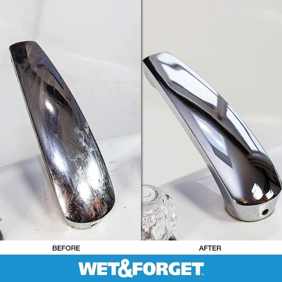 """Soap scum and shower grime buildup goes bye bye without you ever having to wipe. Rinse it clean the next day, and you'll be amazed to see those hard water stains on your shower door are -- poof! -- gone.<br /><br /><strong>Promising review:</strong>""""Does a FANTASTIC job if used regularly. I love this product.<strong>I hate cleaning tubs. This product has made our tubs look new. I don't use it every shower... every third. Just spray down everything after the shower, and forget about it.</strong>You DO need to rinse tub before next shower due to product making it slick. The fumes of other cleaners always messed with my asthma. I have noticed that for some reason with this one, I sneeze twice, because I have to spray shower doors while I'm still in the shower... but it never affects my lungs. I would recommend this to EVERYONE!"""" --<a href=""""https://amzn.to/3baqryy"""" target=""""_blank"""" rel=""""noopener noreferrer"""">Angela Gillaird</a><br /><br /><strong>Get it from Amazon for <a href=""""https://amzn.to/3tnGb7C"""" target=""""_blank"""" rel=""""noopener noreferrer"""">$17.97</a>.</strong>"""