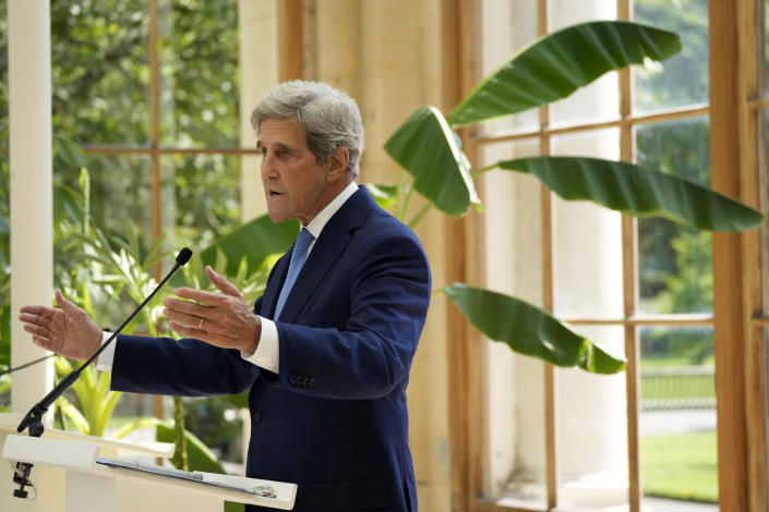 U.S. Special Presidential Envoy for Climate John Kerry delivers a policy speech in the Nash Conservatory at the Royal Botanic Gardens, Kew, in west, London, on a hot sunny day, Tuesday, July 20, 2021. The 19th century glasshouse was originally built in the grounds of Buckingham Palace and moved brick-by-brick to Kew in 1836. (AP Photo/Matt Dunham)