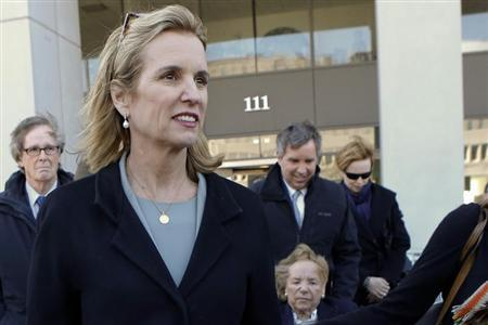Kerry Kennedy, daughter of assassinated Senator Robert F. Kennedy and ex-wife of New York Governor Andrew Cuomo, exits the Westchester County Courthouse in White Plains, New York