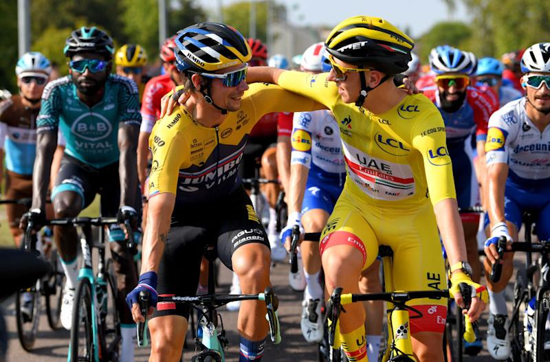 PARIS FRANCE SEPTEMBER 20 Primoz Roglic of Slovenia and Team Jumbo Visma Tadej Pogacar of Slovenia and UAE Team Emirates Yellow Leader Jersey during the 107th Tour de France 2020 Stage 21 a 122km stage from MantesLaJolie to Paris Champslyses TDF2020 LeTour on September 20 2020 in Paris France Photo by Tim de WaeleGetty Images