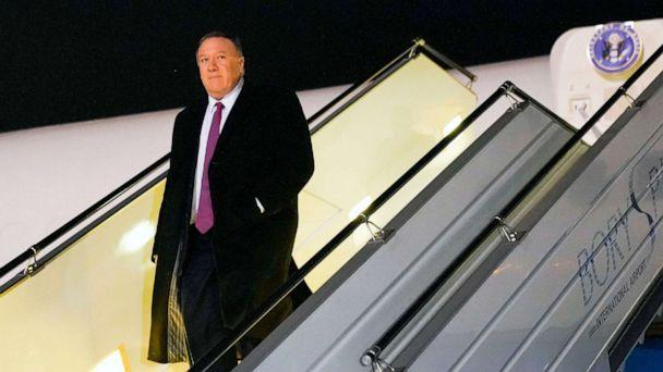 PHOTO: Secretary of State Mike Pompeo steps off a plane upon arrival in Kyiv, Ukraine on Jan 30, 2020. (Pool via Getty Images, FILE)