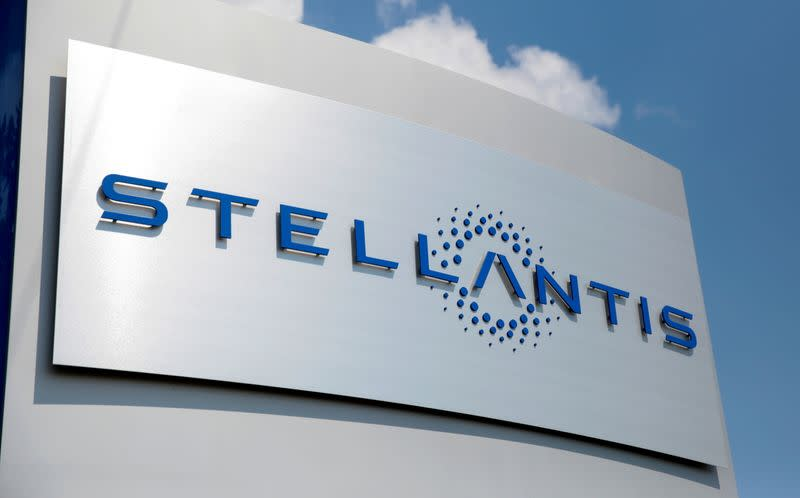 A Stellantis sign is seen outside company headquarters in Auburn Hills,
