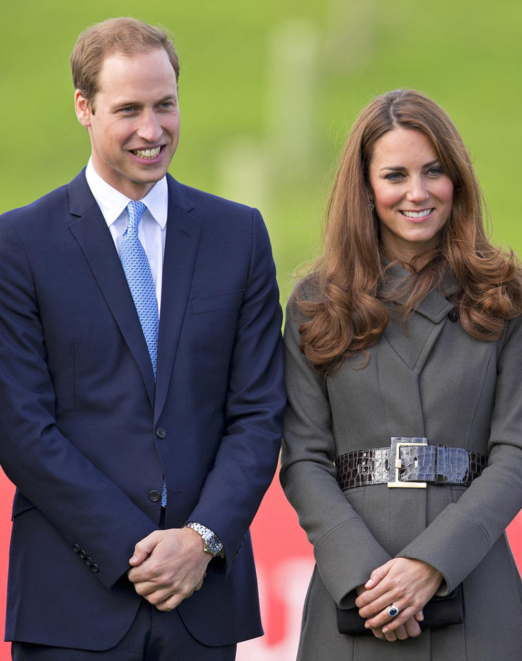 BURTON, UNITED KINGDOM - OCTOBER 09: (EMBARGOED FOR PUBLICATION IN UK NEWSPAPERS UNTIL 48 HOURS AFTER CREATE DATE AND TIME) Prince William, Duke of Cambridge and Catherine, Duchess of Cambridge attend the official launch of The Football Association's National Football Centre at St George's Park on October 9, 2012 in Burton, England. (Photo by Indigo/Getty Images)