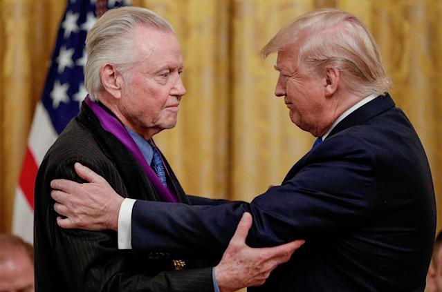 President Trump greets actor Jon Voight, a National Medal of Arts recipient, during the award ceremony on Nov. 21. (Photo: Tom Brenner/Reuters)