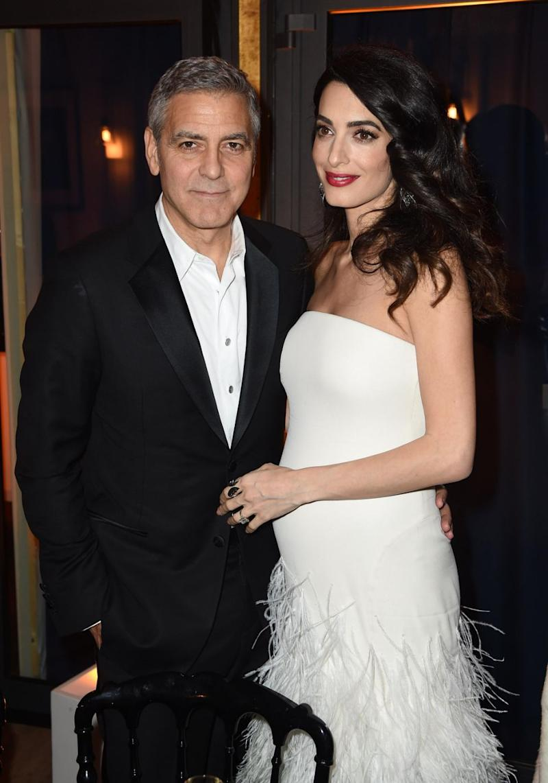 Amal said she was surprised how good of a father George is. The pair are pictured here together in 2016 after announcing Amal's pregnancy. Source: Getty