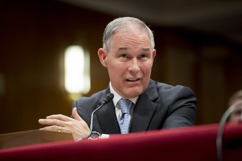 Environmental Protection Agency Administrator Scott Pruitt testifies before a Senate Appropriations subcommittee on the Interior, Environment, and Related Agencies on budget on Capitol Hill in Washington, Wednesday, May 16, 2018. (Andrew Harnik/AP)