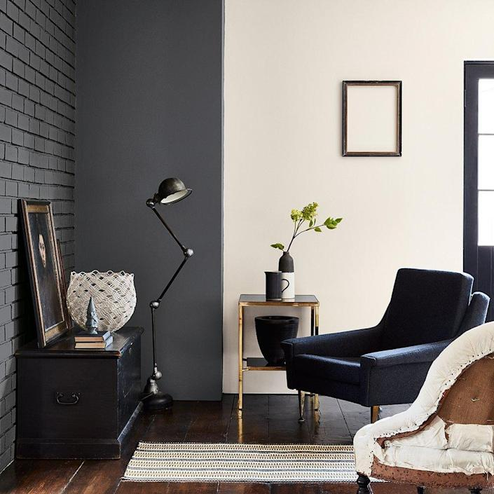 This sleek modern living area makes ample use of chalk white walls (a popular choice according to a recent Lowe's study).
