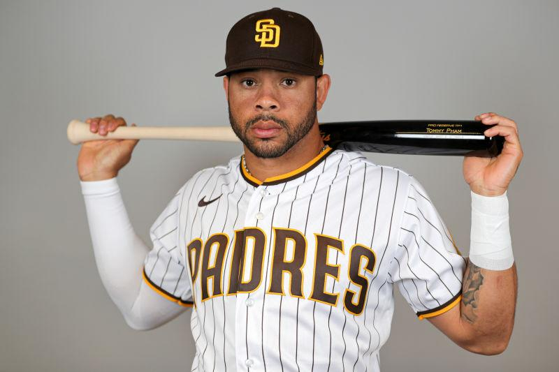 Tommy Pham #28 of the San Diego Padres poses for a photo during Photo Day at Peoria Sports Complex on February 20, 2020 in Peoria, Arizona.
