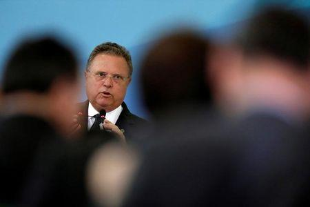 FILE PHOTO: Brazil's Agriculture Minister, Blairo Maggi speaks during a ceremony to mark the signing of a decree on new regulations for beef inspection, at the Planalto Palace in Brasilia
