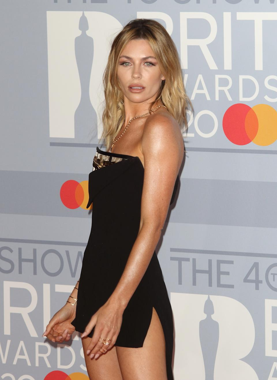 Abbey Clancy attends the 40th Brit Awards Red Carpet arrivals at The O2 Arena in London. (Photo by Keith Mayhew / SOPA Images/Sipa USA)