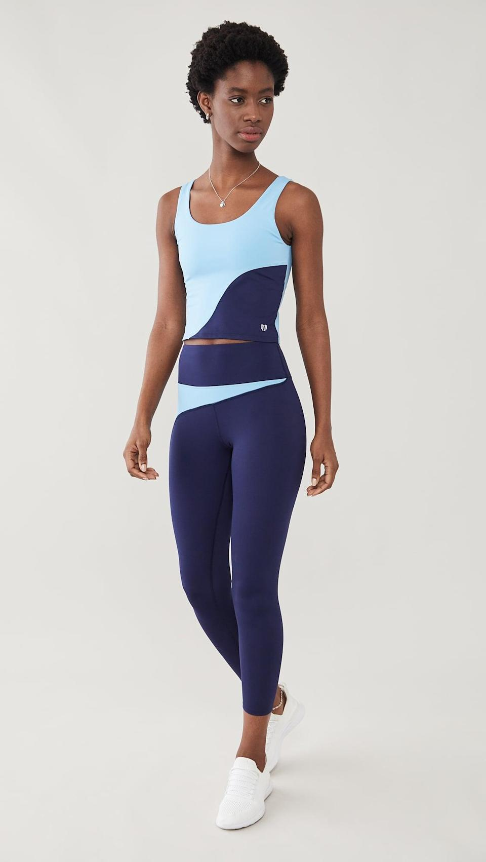 <p>We love the colorblocking on this <span>Eleven by Venus Williams Moon Goddess Leggings</span> ($89) and <span>Moon Goodess Tank</span> ($69) set.</p>
