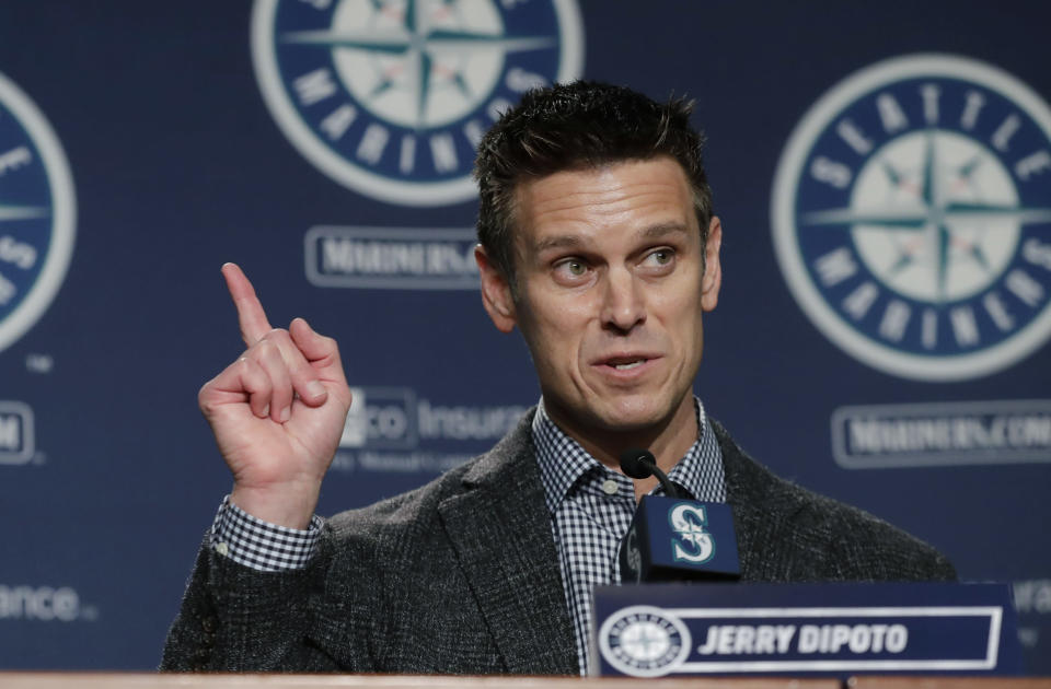 Jerry Dipoto made a big trade on Thursday, and he did it from his hospital bed. (AP Photo/Ted S. Warren)