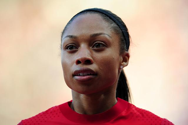 LONDON, ENGLAND - AUGUST 03: Allyson Felix of the United States competes in the Women's 100m Round 1 Heats on Day 7 of the London 2012 Olympic Games at Olympic Stadium on August 3, 2012 in London, England. (Photo by Stu Forster/Getty Images)